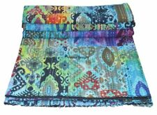 Indian Queen Size Multi Ikat Tye Dye Kantha Quilt Reversible Bedspread Throw