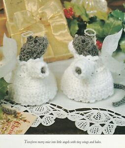 Crochet Pattern ONLY - Christmas Angel Mice Centerpiece - Worsted weight yarn