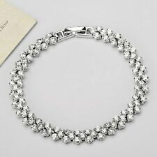 Shiny White Gold Plated Cubic Zircon Tennis Bracelet Women Bridal Gift Jewellery