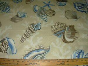 7 4/8  YDS~P KAUFMANN CORAL SEASHELLS SEAHORSE~COTTON DRAPERY UPHOLSTERY FABRIC