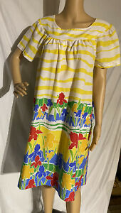 Vintage Carole Cotton Blend Nightgown Striped Floral Large USA Made