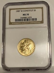 1987-W G$5 US Constitution Commemorative Gold Coin - NGC MS 70 -