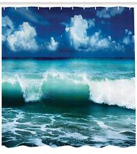Surf Waves Decor Caribbean Sea Water Splash for Surfers ExtraLong Shower Curtain
