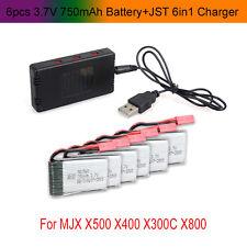 6x 3.7V 750mAh Batería+JST 6 en 1 Puertos Cargador Para MJX X400 X500 X800 RC A2