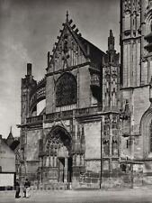 1927 Vintage FRANCE Clamecy St Martin Church Architecture Photo Art By HURLIMANN