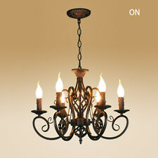 Vintage Ceiling lamp 6 Candle Lights Lighting Fixtures Black Chandelier Pendant
