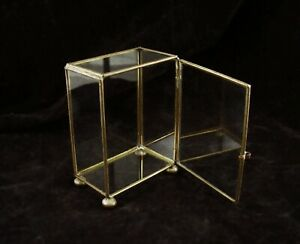 BRASS AND GLASS DISPLAY CASE BOX  5 IN X 3 1/2 IN X 2 IN