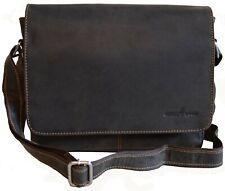 Greenwood Tablettasche Herrentasche Umhängetasche Ledertasche schwarz mittelgroß