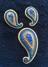Wonderful Vintage Vendome Paisley Brooch & Earrings Demi Parure