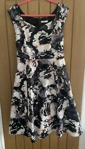 BHS White Black Pink Floral 50's Style Bardot Dress Size 20 Wedding Occasion
