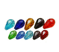 20Pcs Teardrop Drop Faceted DIY Glass Crystal Loose Spacer Beads Jewelry Making