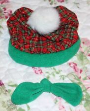 """4"""" Hat & Bow Tie for Teddy Bear, Christmas Red Green Plaid Clothes Outfit"""