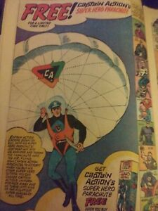 CAPTAIN ACTION TOY FIGURE AD PAGE IDEAL TOYS ORIGINAL 1966 FREE PARACHUTE W/FIG