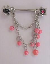 Shield Barbell Ring 14 gauge 14g Surgical Steel Pink Pearl Dangle Nipple Hoop