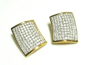 BEAUTIFUL Swarovski Signed Gold Plated & Crystal Studded Stud EARRINGS Clip-ons