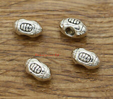 15 Football Rugby Beads European Large Hole Bead Spacers Silver 14x9x8mm 2403