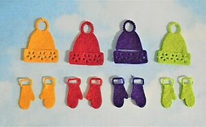 Felt die cut  mini Christmas hats and gloves mittens x 4  embellishments toppers