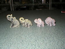 4 Vintage Small Elephant Figurines Sitting Laying Standing Plastic Composite