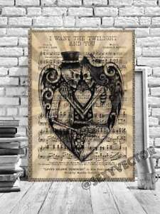 DAY OF THE DEAD SKULL FRAMED CANVAS PICTURE GOTHIC ARTWORK LYRIC PAGE ART #216