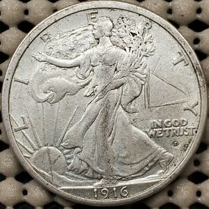 1916 D Walking Liberty Half Dollar Silver Coin Key Date AU Details