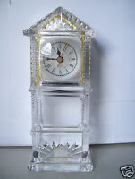 """Rare 1991 Chadwick Miller Desk Clock Heavy Lead Crystal Mantle 10"""" Tall  Works"""