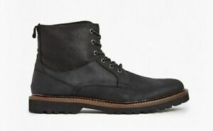 French Connection | Men's Black Finley Leather & Canvas Boots | UK 8
