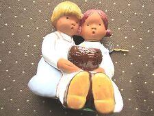 "Vintage Fullar Levante Spain Pottery Girl & Boy holding a basket, 5"" tall"