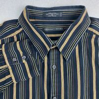 Geoffrey Beene Button Up Shirt Mens XL Black Yellow Long Sleeve Cotton Striped