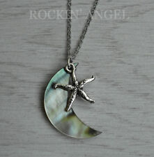 Moon Pendant Necklace Ladies Girls Gift Abalone Shell Mother of Pearl Starfish