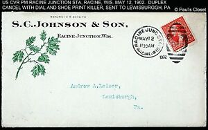 1902 COVER RACINE JUNCTION WIS TIED TO A 2¢ WASHINGTON SC 250 PM DUPLEX MAY 12