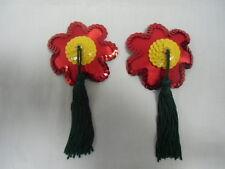 Cache tétons nippies pasties burlesques fleurs rouge jaune vert flower power