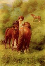 1923 ART Print WELSH PONIES IN PASTURE W/ LOVELY WOMAN PONY