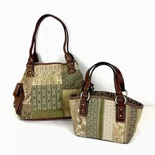 FOSSIL Lot of 2 Quilted Patchwork Cloth Leather Multi-Color Boho Purse Handbags