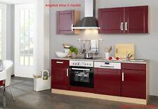 Küchenzeile ohne Geräte Einbauküche ohne Elektrogeräte 220 cm hochglanz rot