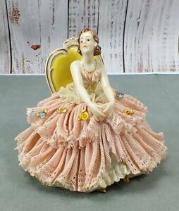 Antique FURSTENBERG DRESDEN Porcelain LADY SITTING IN CHAIR Figurine GERMANY