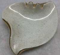 Vintage MCM Ashtray Cal Style Pottery USA White Gold Speckled Trim  6""