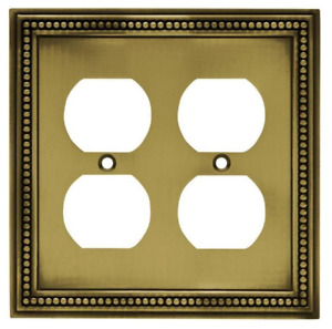 Liberty W10448-ABT Beaded Tumbled Antique Brass Double Duplex Wall Plate Cover