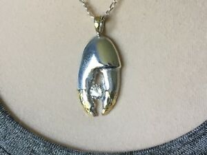 CRAB CLAW pendant, SOLID SILVER & 24kt Gold Nuggets & Crystal,crafted in USA