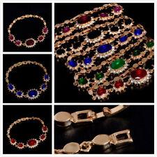 18k Gold Plated Colorful Gemstones Crystal Women Lady girl Bracelet Bangle Hot