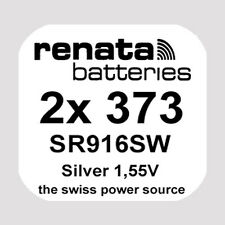 2x Renata 373 Uhren-Batterie Knopfzelle SR916SW 1,55V Silberoxid Neu