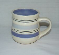 "Pfaltzgraff RIO Mug, 4"" Blue Bands Stripes Hand Painted Ceramic Pottery Cup"