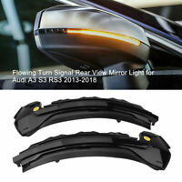 For AUDI A3 S3 RS3 Dynamic Flowing LED WING MIRROR Blinker INDICATOR Repeater 2X