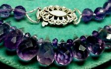 Beautiful Vintage Style Necklace 140ct ! Natural Amethyst Briolette 9ct Gold