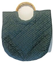 """Quilted Handmade  Bag with 6"""" Bamboo Handles Fabric Handmade Tote Purse"""