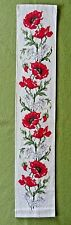 Hand-stitched Completed Needlepoint Cross Stitch Bell Pull - Poppies & Daisies