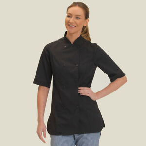 Dennys Short Sleeve Chef's Fitted Jacket Cooks Shaped Studs French Cuffs (DD33S)