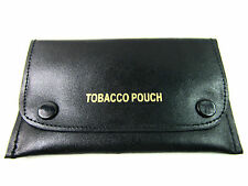 New High Quality Genuine Black Leather Tobacco Pouch Paper Holder Wallet Purse