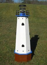 """36"""" Solar lighthouse wood decorative lawn and garden ornament - blue accents"""