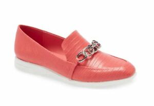 NEW! Calvin Klein Women's Banda Lizard Coral Red Loafer Size 7.5M