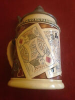 RARE Antique Reinhold Hanke German Beer Stein Playing Cards Pewter Lid #1255